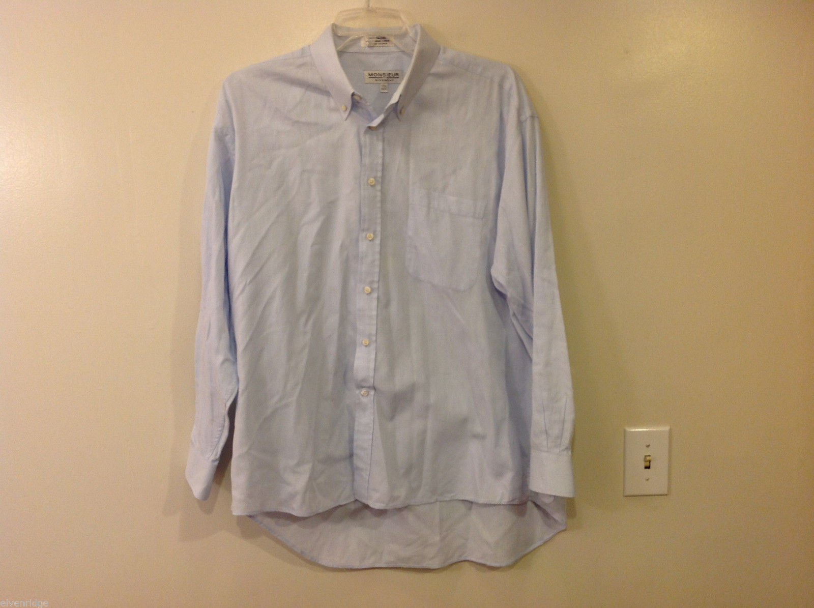 "Monsieur by Givenchy Men's Size 2XL Shirt Button-Down 17 1/2"" Collar Light Blue"