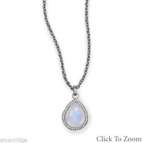 Midnight Collection Pear Drop Necklace With Gray Diamonds Sterling Silver