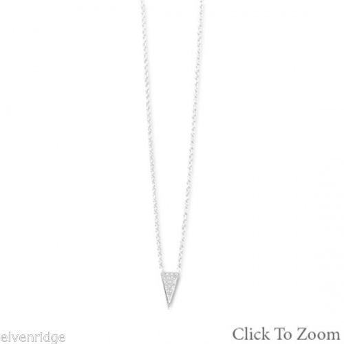 Pave CZ Triangle Necklace Sterling Silver