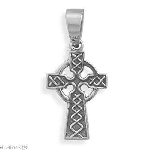Oxidized Celtic Cross Pendant Sterling Silver
