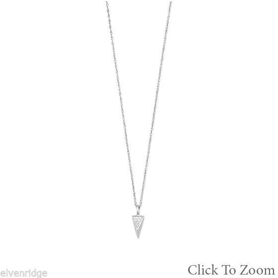 Rhodium Plated Small Triangle Necklace with Diamonds Sterling Silver
