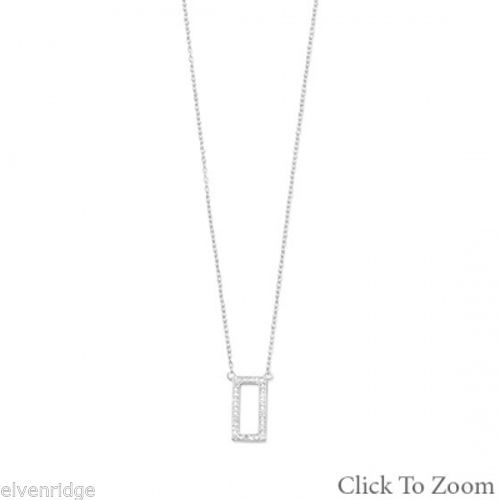 Rhodium Plated Rectangle Necklace with Diamonds Sterling Silver