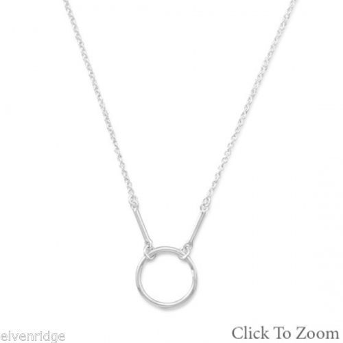 Polished Circle and Bar Drop Necklace Sterling Silver