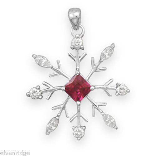 Rhodium Plated Snowflake Pendant with Clear and Red CZ Sterling Silver