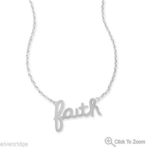 "Rhodium Plated ""faith"" Necklace Sterling Silver"
