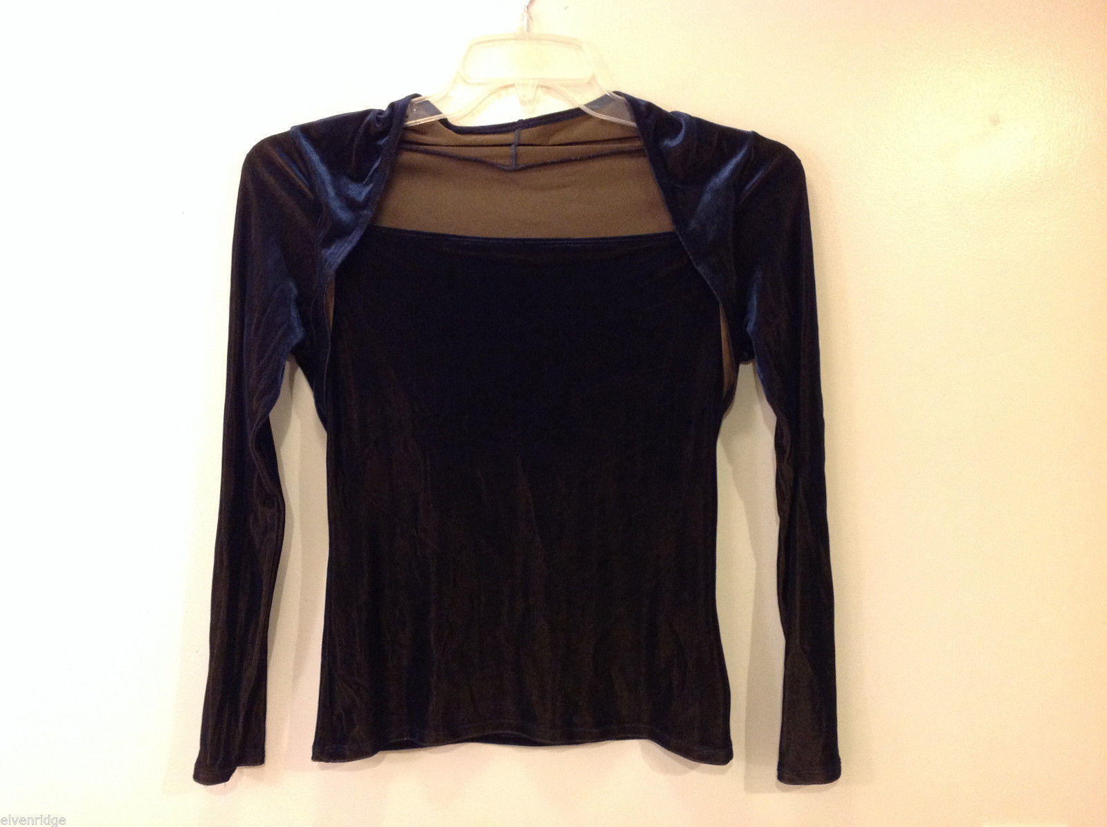 Women's Size S, XS Velvet Top Combo Shrug Stretchy Slinky Two Tone Blue Brown