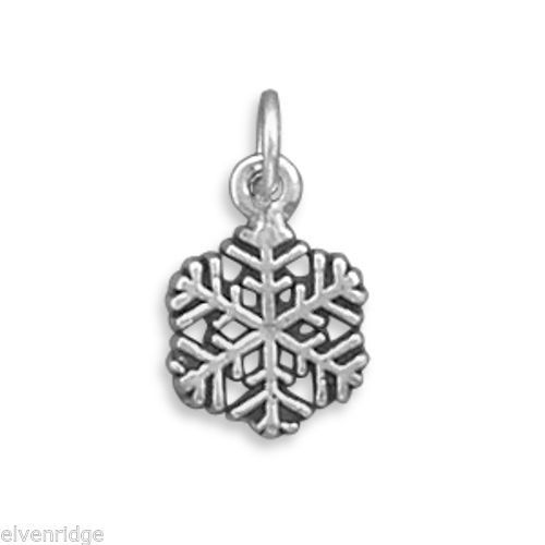 Small Oxidized Snowflake Charm Sterling Silver