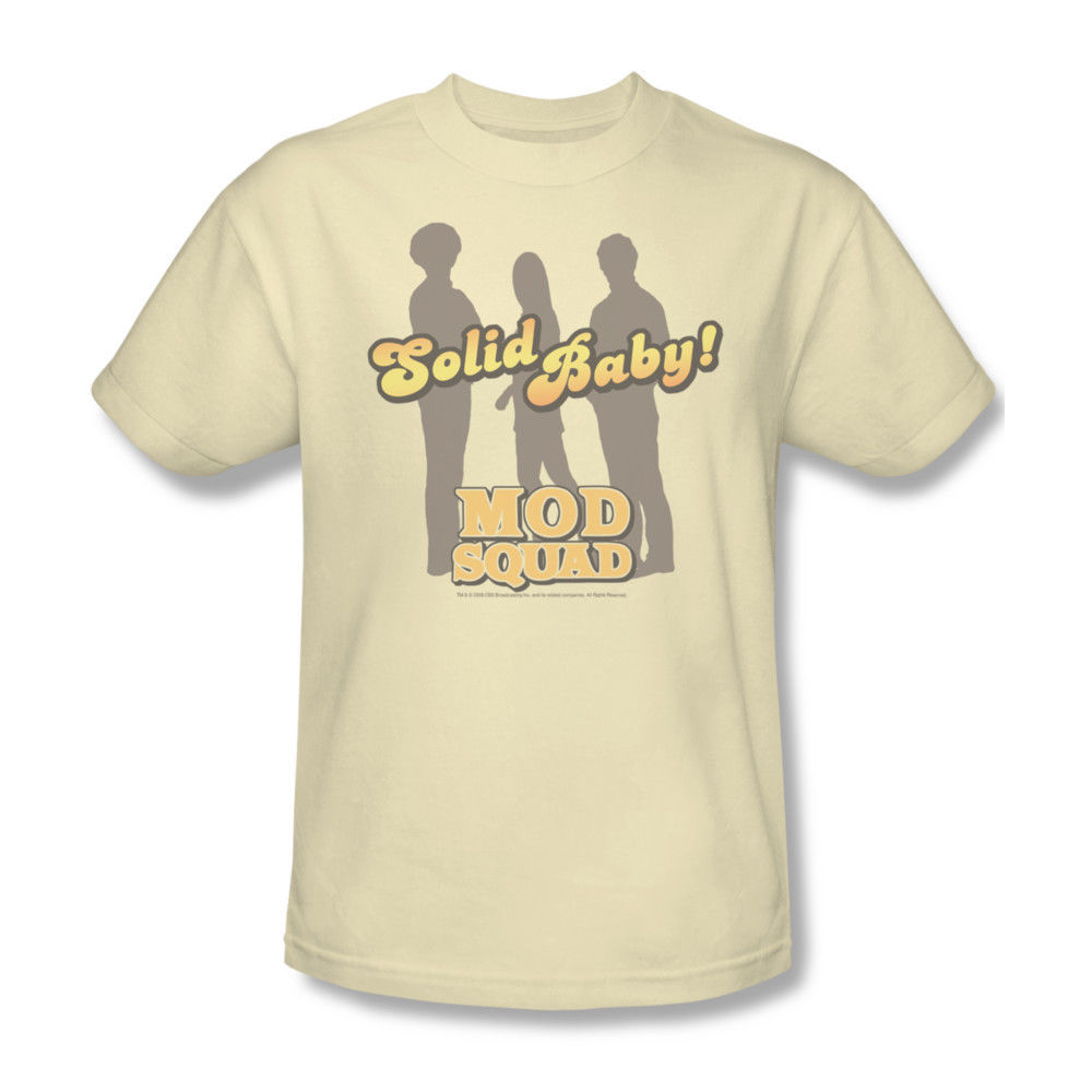 Mod Squad T shirt retro 70's TV Land show 100% cotton beige tee CBS226