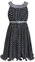Bonnie Jean Tween Big Girls Black White Spangle Dot Print Belted Social Dress