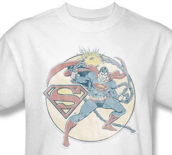 Superman Chains T shirt retro DC comic superhero 100% cotton white tee DCO597