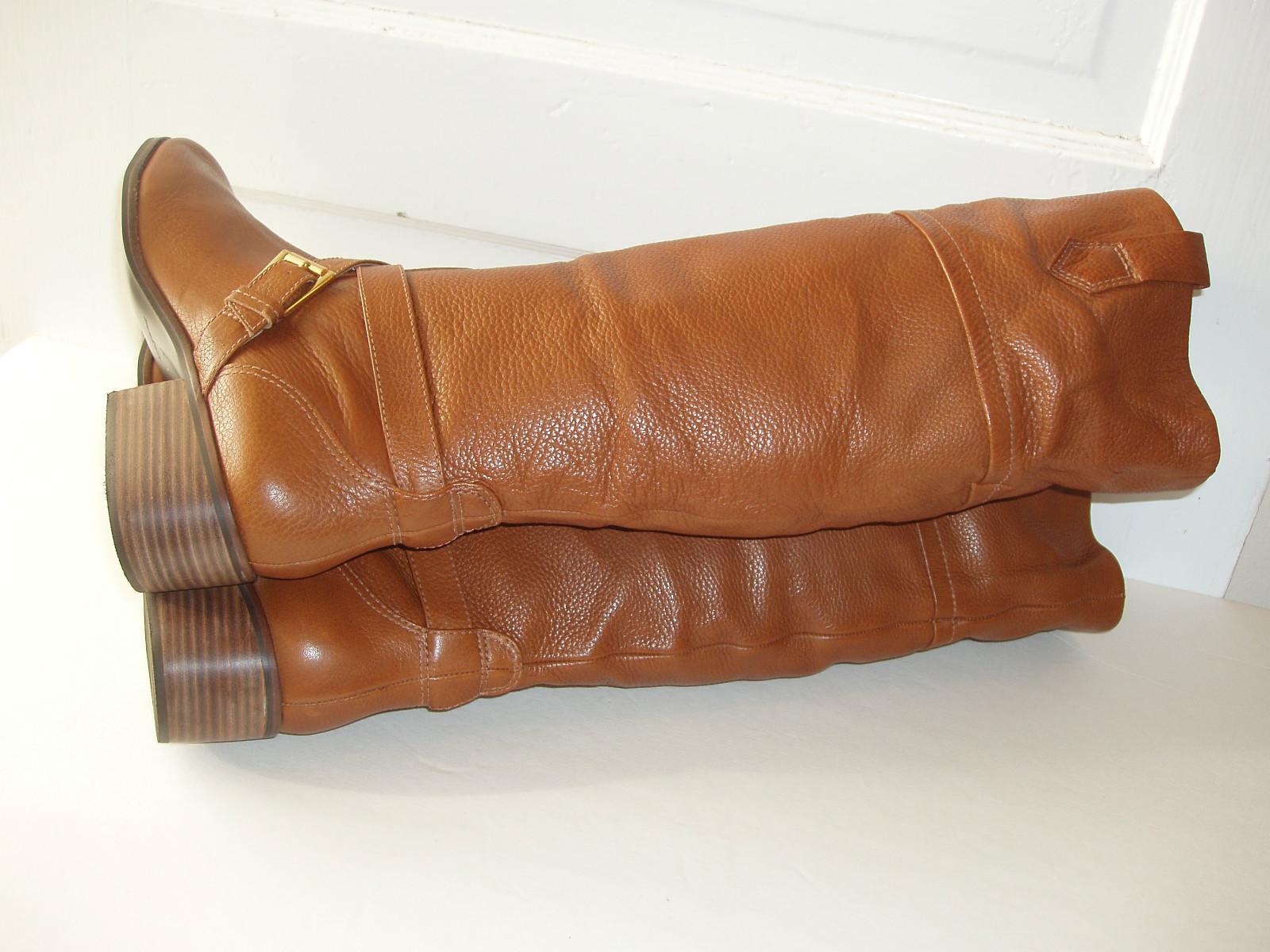 7ac92fc4c87 Pour La Victoire Vance British Tan Pebble Leather Pull-On Riding Boots Sz  10 NEW