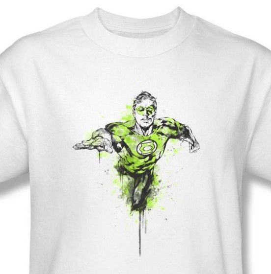 Green Lantern T shirt Color Splash retro distressed 100% cotton white tee GL312