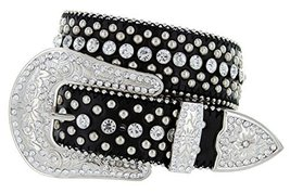 Women's Cowgirl Style Western Belt with Rhinestones and Studs (38 Black) - $14.84
