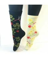 2 PAIRS Foozys Women's Socks, Gardening Print, Off-White, Black, NEW - $8.99
