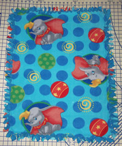 """Disney Dumbo Circus Fleece Baby Blanket Pet Lap Security Hand Tied Blue 30""""x 24"""" - $39.95"""