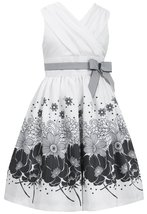Tween Big Girls Ivory/Black Surplice Floral Border Shantung Social Dress