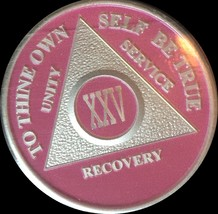 Pink & Silver Plated 25 Year AA Chip Alcoholics Anonymous Medallion Coin... - $20.39