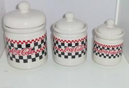 3 Coke Coca Cola Canisters Checker Board Design 1996 Ceramic Kitchen Vin... - $99.95