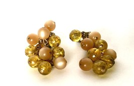 Retro Vintage Clip on Earrings Yellow Translucent Plastic Beads Old Jewe... - $34.65