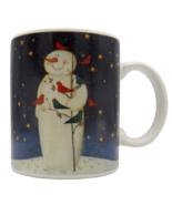 Mary Beth Baxter Twilight Snowman Mug Gold Stars Cardinals Birds Certifi... - $14.87