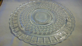 VINTAGE CLEAR GLASS CAKE TRAY, SCALLOPPED EDGES... - $49.49