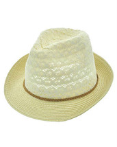 Beige Cotton Fedora Hat Brown Leather Braided Trim UV Protection 50+ USA  - €11,09 EUR
