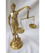 11in Lady Justice, Brass Scales Of Justice Blind Lady Justice Favorite f... - $59.88