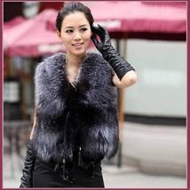 Silver Blue Fox Gilet Tassel Leather Ties Waistcoat Faux Fur Vest Jacket  - $89.95