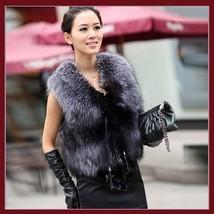 Silver Blue Fox Gilet Tassel Leather Ties Waistcoat Faux Fur Vest Jacket  image 2