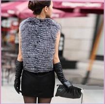 Silver Blue Fox Gilet Tassel Leather Ties Waistcoat Faux Fur Vest Jacket  image 3