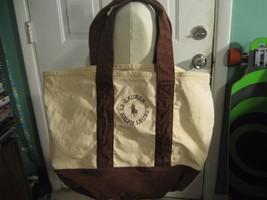 Ralph Lauren Polo Canvas Bag Natural Cream & Burgundy Trim Color  Large - $28.04