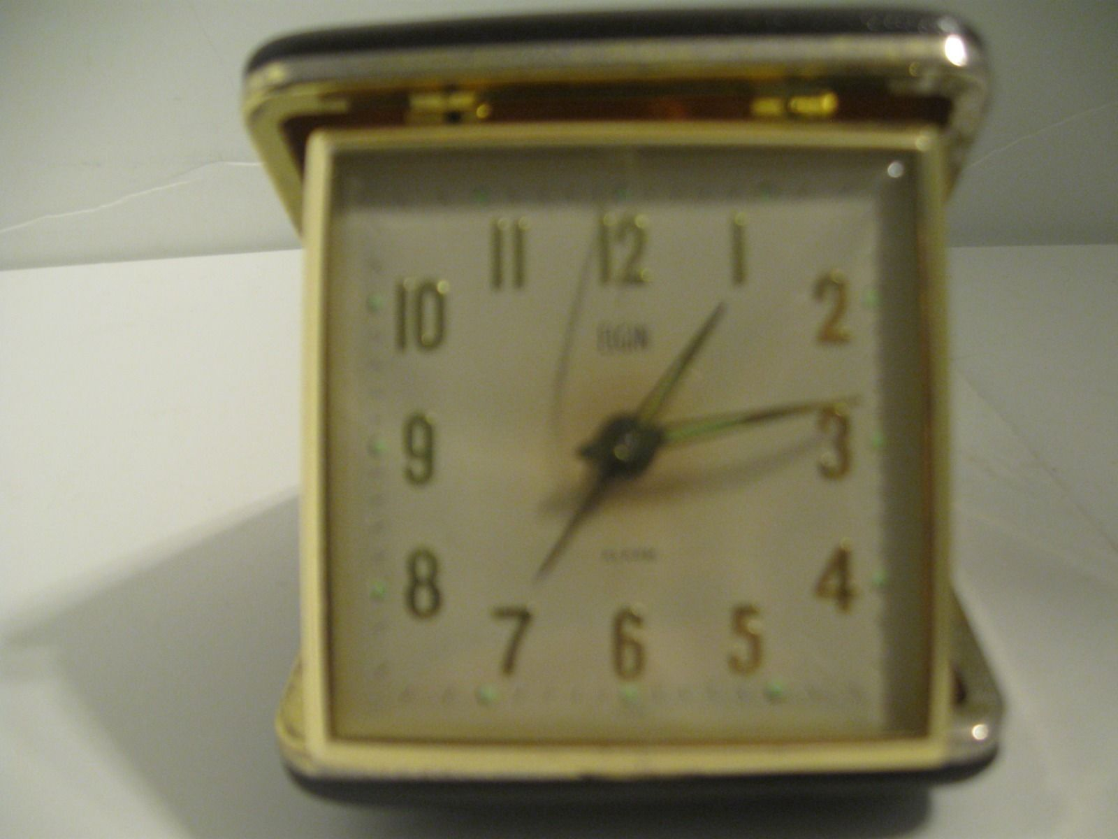 Vintage Elgin Travel Folding Pocket Alarm Clock Wind Up Works Great Luminous