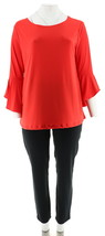 Women with Control Tall Top Slim Ankle Pant Set Red Hot 1X NEW A302300 - $36.61