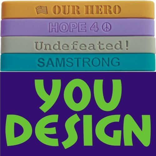 Primary image for 700 Custom Silicone Wristbands YOUR Color, Text & Image