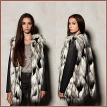 Tufted Fox Long Hair Faux Fur Sleeveless Patchwork longer Vest Jacket image 2