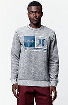 MEN'S GUYS HURLEY CALL IT CREW FLEECE SWEATSHIRT GRAY NEW $59 - $39.99
