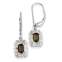 925 Silver Rhodium Plated Fancy Diamond & Smoky Quartz Leverback Dangle ... - €41,96 EUR