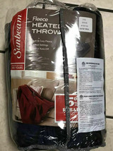 Sunbeam Fleece Heated Throw Blue/Black Electric Blanket Heat Warm Soft N... - $51.40