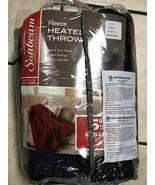 Sunbeam Fleece Heated Throw Blue/Black Electric Blanket Heat Warm Soft NWT @AJ3B - $51.40