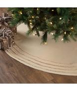 "Vintage Burlap Antique Creme Christmas Tree Skirt 48"" Holiday Decor  - $59.95"