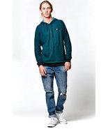 RVCA Moore Hooded Long Sleeve Shirt HENLEY HOODIE NEW GREEN - $34.99
