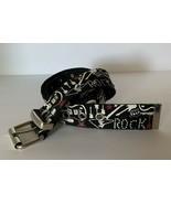 Rock Music Guitar Goth Studded Print Metal Buckle Belt Size L Relic Brand - $13.86