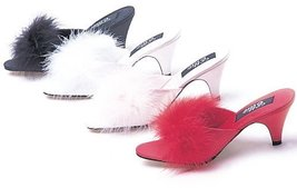 "ELLIE PHOEBE 2.5"" Heel Satin Maribou Slippers, White, 6 Size - $44.55"