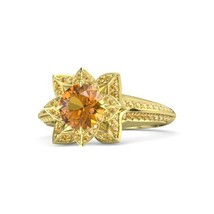 2.60 Ct Round Cut Citrine 14k Yellow Gold Plated Princess Tiana Engagement Ring - $145.65
