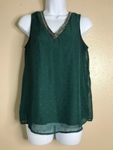 Maurices Women Size Small Green Bead Embellished Neck Sleeveless Blouse - $13.34