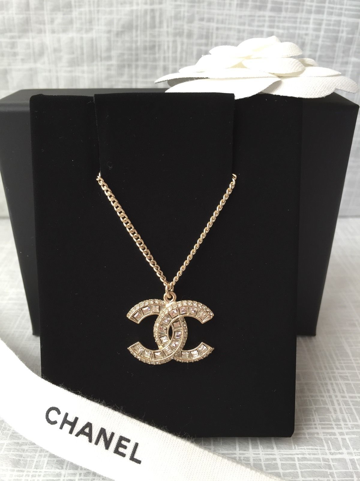 Authentic chanel gold crystal rhinestone pendant cc logo necklace authentic chanel gold crystal rhinestone pendant cc logo necklace classic charm aloadofball Image collections