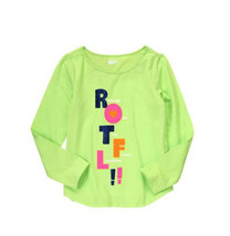 Crazy 8 Girls Tee Shirt Sz M 7 8 Cute Graphic Green 100% Cotton Long Sle... - $12.88