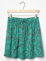 GAP Women Skirt Sz S Green Floral Print Circle Tie String Pocket Shirred New - $24.95