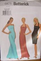 Pattern 6875 Long or Short Formal Dress Size 12,14,16 uncut - $6.99