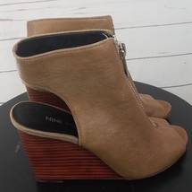 Nine West Brown Open Toe Zipper Wedges Shoes Womens Size 6M - $44.99